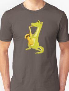 Cartoon crocodile playing music with saxophone Unisex T-Shirt