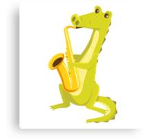 Cartoon crocodile playing music with saxophone Canvas Print