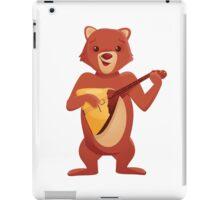 Happy cartoon bear playing music with balalaika iPad Case/Skin