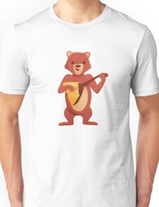 Happy cartoon bear playing music with balalaika Unisex T-Shirt
