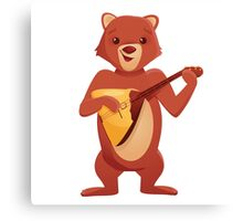 Happy cartoon bear playing music with balalaika Canvas Print