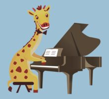 Funny giraffe playing music with grand piano Kids Clothes