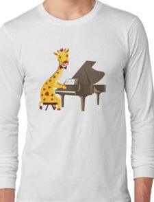 Funny giraffe playing music with grand piano Long Sleeve T-Shirt