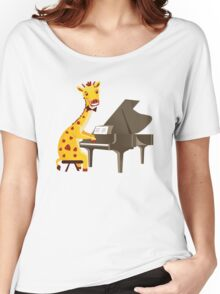 Funny giraffe playing music with grand piano Women's Relaxed Fit T-Shirt