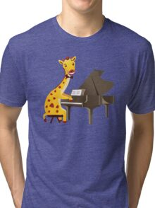 Funny giraffe playing music with grand piano Tri-blend T-Shirt