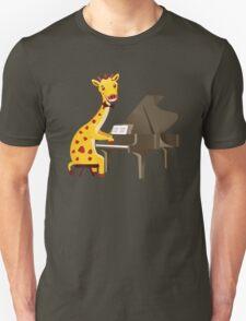 Funny giraffe playing music with grand piano T-Shirt