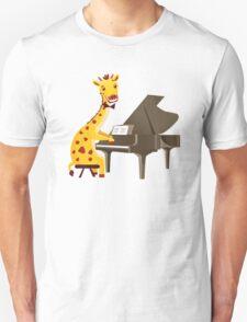 Funny giraffe playing music with grand piano Unisex T-Shirt