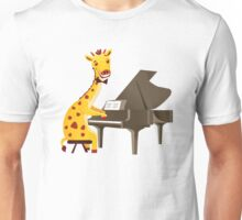 Funny giraffe playing music with grand piano Unisex T-Shirt