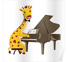 Funny giraffe playing music with grand piano Poster