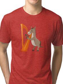 Cartoon donkey playing music with harp Tri-blend T-Shirt