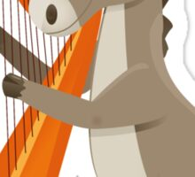 Cartoon donkey playing music with harp Sticker