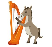Cartoon donkey playing music with harp by berlinrob
