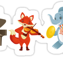 Animal band playing music Sticker