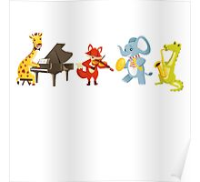 Animal band playing music Poster