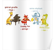 Cartoon animals playing music in a band Poster
