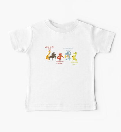 Cartoon animals playing music in a band Baby Tee