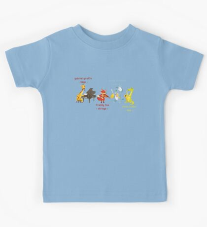 Cartoon animals playing music in a band Kids Tee