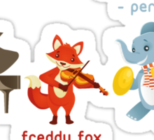 Cartoon animals playing music in a band Sticker