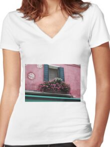Window Flowers in Burano, Italy. Women's Fitted V-Neck T-Shirt