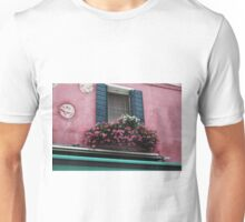 Window Flowers in Burano, Italy. Unisex T-Shirt
