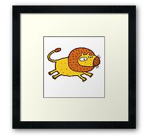 Cartoon lion jumping Framed Print
