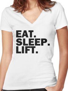 Eat. sleep. Lift. Women's Fitted V-Neck T-Shirt