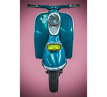 Vintage Blue Scooter Photographic Print