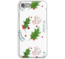 Christmas pattern with holly berries and leaves iPhone Case/Skin
