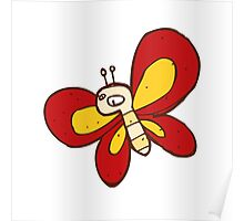 Cute funny cartoon butterfly Poster