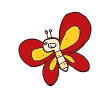 Cute funny cartoon butterfly Photographic Print