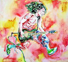 EDDIE VAN HALEN PLAYING and JUMPING watercolor portrait by lautir