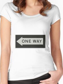 One way - Road sign USA left Women's Fitted Scoop T-Shirt