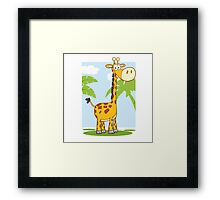 Funny cartoon giraffe Framed Print