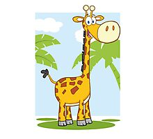 Funny cartoon giraffe Photographic Print