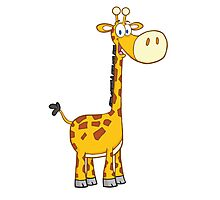 Cute cartoon giraffe smiling Photographic Print