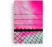Pink Sky & Barbed Wire Canvas Print
