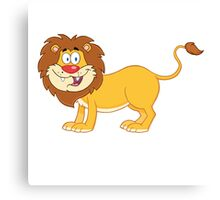 Cute funny cartoon lion Canvas Print