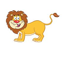 Cute funny cartoon lion Photographic Print