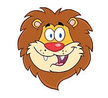 Cute smiling head of a cartoon lion Photographic Print