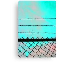 Blue Acid Sky & Barbed Wire Canvas Print
