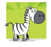 Funny cute cartoon zebra Photographic Print