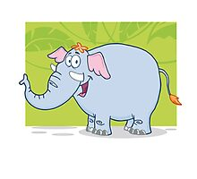 Cute funny cartoon elephant Photographic Print