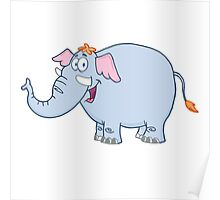 Funny cartoon elephant character Poster