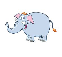 Funny cartoon elephant character Photographic Print