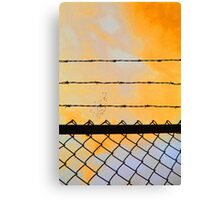 Orange Sky & Barbed Wire Canvas Print
