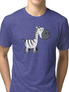 Outline of cute cartoon zebra Tri-blend T-Shirt