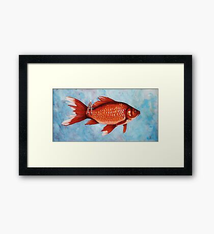 The Fisherman surreal whimsical painting Framed Print