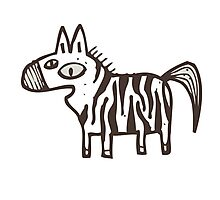 Cute striped cartoon zebra Photographic Print