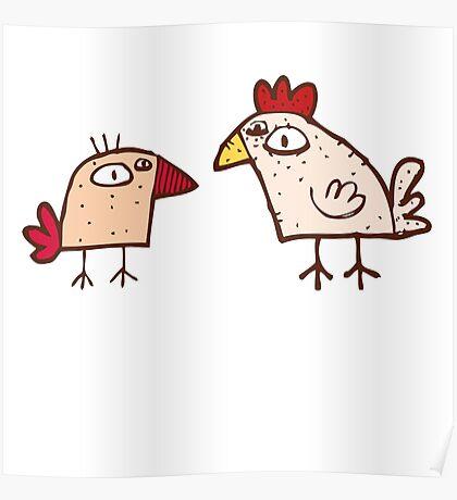 Funny cartoon chicken Poster