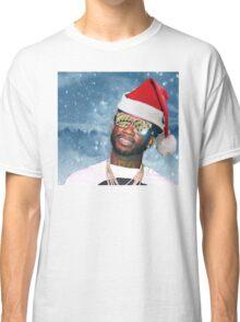 Gucci Mane Santa Snow Background- Christmas Classic T-Shirt